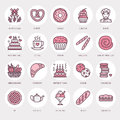 Bakery, Confectionery Line Icons. Sweet Shop Product - Cake, Croissant, Muffin, Pastry, Cupcake, Pie Food Thin Linear Stock Photos - 89406573
