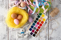 Festive Easter Decoration On White Table With Pastel Color Eggs Stock Images - 89409434
