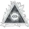 Vector Tattoo Illustration Abstract Sacred Geometry With An All-seeing Eye. Stock Photos - 89425023