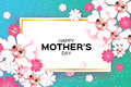 Blue Happy Mothers Day. Brilliant Stones. Paper Cut Flower. Rectangle Frame. Stock Photos - 89431273
