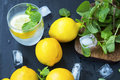 Lemon Soda With Mint Leaves And Ice Cubes, Fresh Citrus Infused Stock Image - 89437791