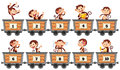 Counting Numbers With Monkeys In Wagons Royalty Free Stock Photo - 89443425