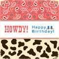 Cowboy Happy Birthday Card With Text.Vector Child Card Stock Photography - 89448242