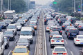Traffic Jam In Smog Covered City, Beijing, China Royalty Free Stock Images - 89448579