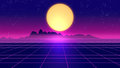 Retro Futuristic Background 1980s Style 3d Illustration. Royalty Free Stock Photography - 89453087