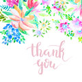Flower Card Painted With Watercolors Royalty Free Stock Photo - 89468345