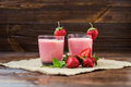 Healthy Strawberry Yogurt With Mint Leaves And Fresh Berries On Stock Image - 89468621
