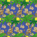 Seamless Pattern With Palm Trees Summer Print, Repeating Background Texture Stock Photo - 89469440