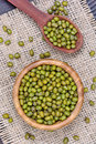 Mung Beans In A Bamboo Bowl And Spoon Royalty Free Stock Photos - 89472098