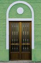 Art Deco Style House Door On A Green Wall Royalty Free Stock Image - 89475136