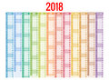 2018 Calendar. Print Template. Week Starts Sunday. Portrait Orientation. Set Of 12 Months. Planner For 2018 Year. Stock Image - 89475711