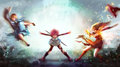 Cartoon Illustration Of A Warrior Girl Blasting Magic Power Attack To Women Witch And Sorcerer In Japanese Manga Fantasy Concept. Stock Photos - 89497693