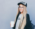 Closeup Portrait Of Blonde Girl With Long Haircut. Hipster, Insagram Style. She Wears Black Trendy Dress, Glasses Royalty Free Stock Images - 89501529