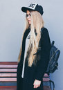 Closeup Portrait Of Blonde Girl With Long Haircut. Hipster, Insagram Style. She Wears Black Trendy Dress, Glasses Royalty Free Stock Photos - 89501628