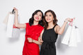 Two Happy Attractive Young Women With Shopping Bags On White Bac Royalty Free Stock Photography - 89502637