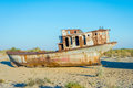 Rusted Vessel In The Ship Cemetery, Uzbekistan Royalty Free Stock Image - 89507146