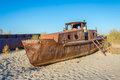 Ship Cemetery, Aral Sea, Uzbekistan Royalty Free Stock Images - 89507259