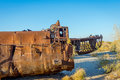 Rusted Vessel In The Ship Cemetery, Uzbekistan Royalty Free Stock Images - 89508889