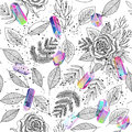 Roses, Leafs, Crystals Seamless Background Vector Royalty Free Stock Photo - 89509295