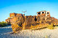 Rusted Vessel In The Ship Cemetery, Uzbekistan Royalty Free Stock Image - 89509986