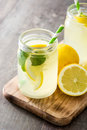 Lemonade Drink In A Jar Glass On Wood Stock Photography - 89510012