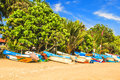Bright Boats On The Tropical Beach Of Bentota, Sri Lanka Stock Images - 89512274