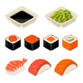 Set Sushi Roll. Isolated On Dark Background. Vector Flat Color Illustration Stock Photography - 89519362