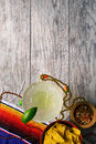 Fiesta: Margarita With Chips And Salsa On Wood Background Royalty Free Stock Photo - 89520185