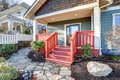Nice Craftsman Home With Covered Red Porch Royalty Free Stock Images - 89539299