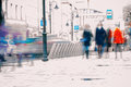 Abstract Background. Intentional Motion Blur. City In The Early Spring. Street, Girl Walking On The Sidewalk, Concept Of Stock Image - 89540281