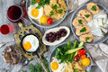 Food, Healthy Breakfast, Porridge, Eggs, Vegetables, Sandwiches With Caviar Stock Photography - 89546992
