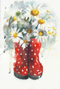 Daisies Bouquet Watercolor Painting Greeting Card Stock Image - 89550011