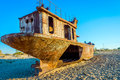 Rusted Vessel In The Ship Cemetery, Uzbekistan Royalty Free Stock Image - 89550546