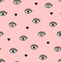 Seamless Pattern With Hearts And Eyes Royalty Free Stock Images - 89557859