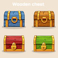 Closed Colored Wooden Treasure Chest Stock Images - 89558934