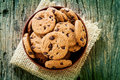 Top View And Overhead Shot Of  Chocolate Chip Cookies In Cup Bow Stock Photography - 89566802