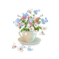 Spring Flowers In Cup Stock Photography - 89567402