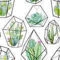 Watercolor Vector Cactus Pattern Royalty Free Stock Image - 89568446