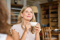 Woman Thinking Over Coffee Stock Images - 89570254