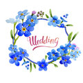 Wildflower Myosotis Arvensis Flower Wreath In A Watercolor Style Isolated. Stock Photo - 89570440