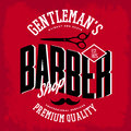 Barber Shop Logo With Scissors And Mustache Royalty Free Stock Images - 89579929