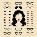 Vector Set Of Dress Up Constructor With Different Woman Eyelashes,glasses,lips In Flat Style. Female Faces Icon Creator. Stock Photography - 89581162