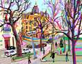 Digital Plein Air Painting Of Kiev Street Cityscape In Spring Stock Photography - 89581902