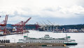 Green And White Ferry By Seattle Freight Terminals Stock Photo - 89583050