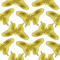 Golden Butterfly Seamless Pattern Stock Image - 89604411