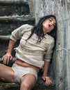 Drunk Young Woman On The Stairs Royalty Free Stock Images - 89606479