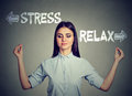 Stress Or Relax. Young Woman Meditating Stock Images - 89609844