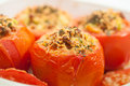 Just Baked Stuffed Tomatoes Royalty Free Stock Photos - 89611958