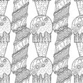Ice Cream, Dessert. Black And White Illustration For Coloring Book. Seamless Decorative Pattern. Vector Royalty Free Stock Photos - 89618178