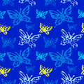 Grunge Seamless Pattern With Butterflys. Royalty Free Stock Images - 89624689